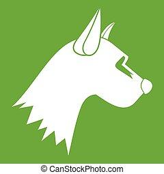 Dog icon green - Dog icon white isolated on green...
