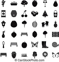 Gardening tool icons set, simple style - Gardening tool...