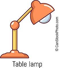 Table lamp icon, cartoon style - Table lamp icon. Cartoon...