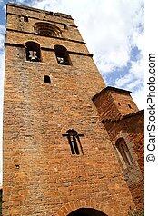 Ainsa medieval romanesque village church Spain