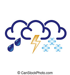 All Bad Weather Icon - Stylized clouds with raindrops,...