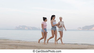 Girls Walking On Beach, Woman Show Cell Smart Phone, Young...