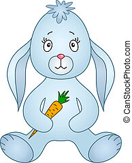 Rabbit with carrot - Rabbit siting and holding carrot in...