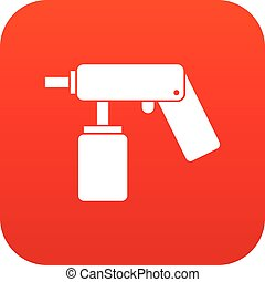 Spray aerosol can bottle with a nozzle icon digital red for...