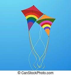 flying kites - illustration of flying kites