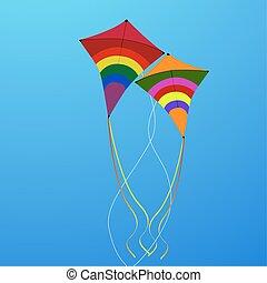 flying kites - illustration of flying kites