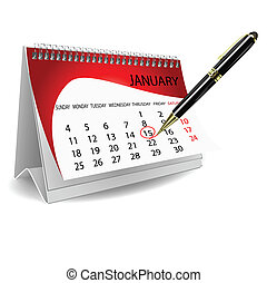 calender with pen
