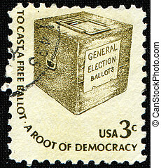 ballot box - UNITED STATES OF AMERICA - CIRCA 1977: A stamp...