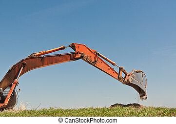 hidráulico, escavador, braço, balde