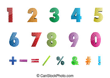 math numbers with icons - illustration of math numbers with...