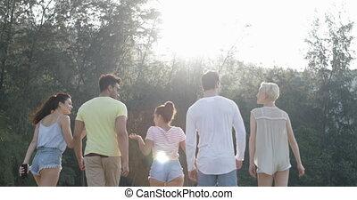 Mountain Park People Walking Talking Back Rear View,...