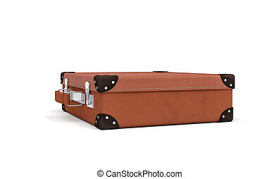3d rendering of a brown vintage closed suitcase with metal...
