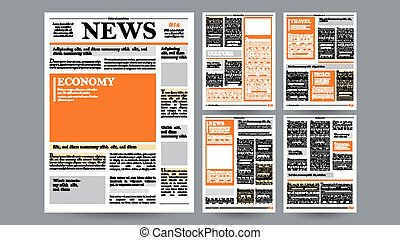 Newspaper Design Template Vector. Images, Articles, Business...