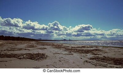 View of the coast and the Leningrad nuclear power plant....