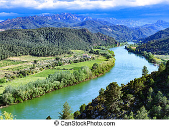 The Ebro river. Most important river on the Iberian...