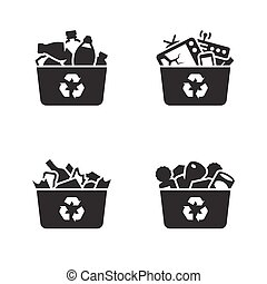 Recycling of glass, plastic, metal and e-waste icons. Black...