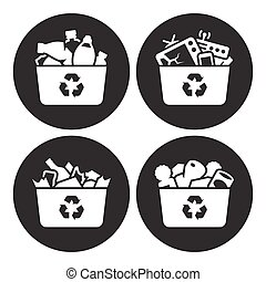 Recycling of glass, plastic, metal and e-waste icons. White...