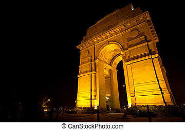 India Gate Memorial Night Moon Horizontal - The moon is...