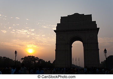 India Gate Sunset Delhi Landmark - A beautiful silhouette of...