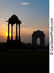 India Gate Canopy Sunset Empty - A beautiful silhouette of...