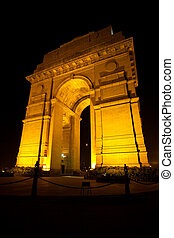 India Gate Moon Memorial Night Vertical - The moon is...