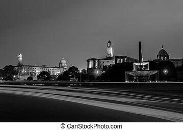 Delhi, India. Illuminated Rashtrapati Bhavan an Parliament...
