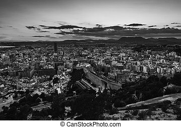 Aerial view of Alicante, Spain at sunset