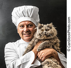 mad cook with his cat - crazy cook with his cat