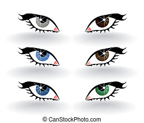 Icons of a human eye of six colours. A vector illustration