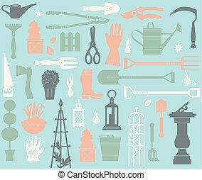 Gardening tool set - Seamless pattern. Vector set of...