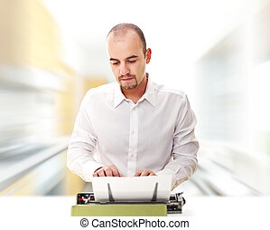 man use typewriter and abstract speed image background