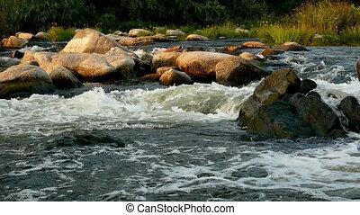 Wild river mountain nature - Wild white river in mountain...