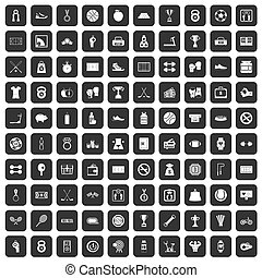 100 basketball icons set black - 100 basketball icons set in...