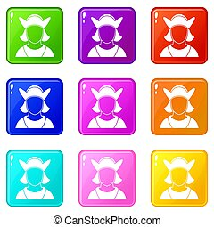 Male avatar set 9 - Male avatar icons of 9 color set...