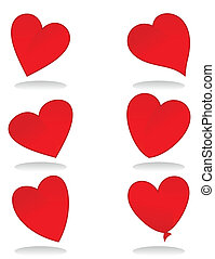 Set of icons of red hearts A vector illustration