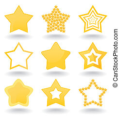 Set of icons of gold stars. A vector illustration