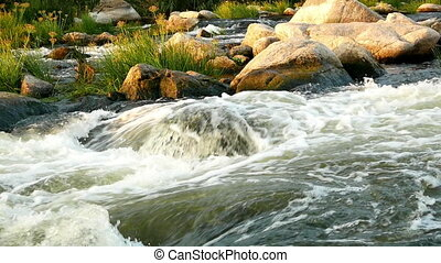 Wild river mountain nature - Wild white river in mountain...