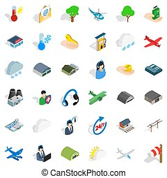 All day airport icons set, isometric style - All day airport...