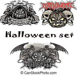 halloween pumpkin set - halloween holiday...