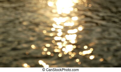 Sunset reflection water river - Sunset golden reflection of...