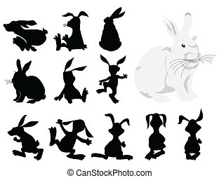 Black silhouettes of a rabbit in movement A vector...