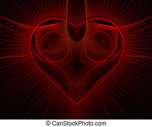 Burning and beating heart. Valentine's day background. An...