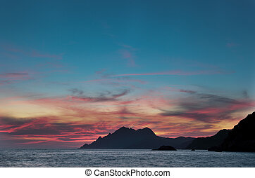 Corsica - Sunset over the UNESCO protected world heritage...
