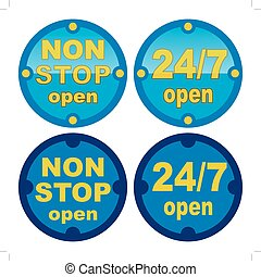 non stop open symbol in blue color - non stop open and 24 7...