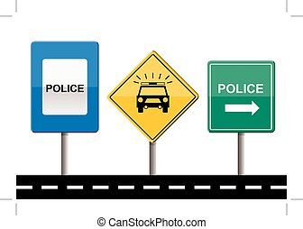 set of police signs isolated on white
