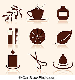 Set of icons on a theme spa A vector illustration