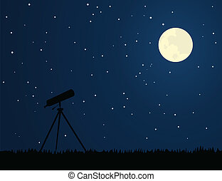 Telescope against the night sky. A vector illustration