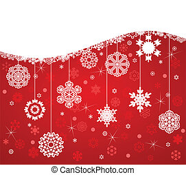 White snowflakes on a red background. A vector illustration