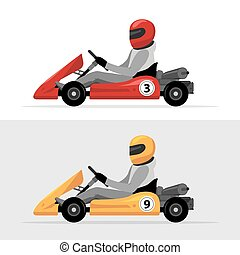 Kart driver sport background. Karting racing isolated, Man...
