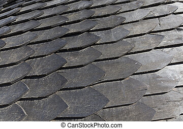 Wooden Roof - The old wooden roof, made of small slats,...